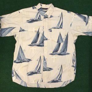 Vtg 90s Nautica all over sail boat button shirt